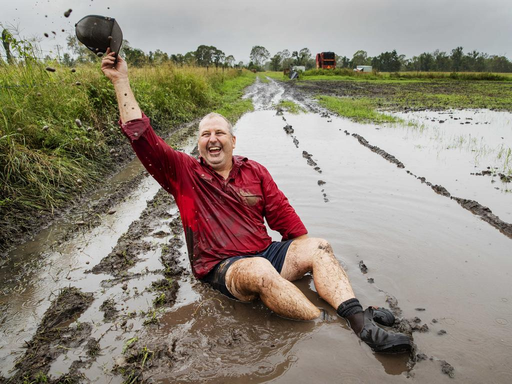 Farmer Dean Mayne has enjoyed falls about 160mm across the last week at his Kilkivan farm after a long dry spell. Picture: Lachie Millard