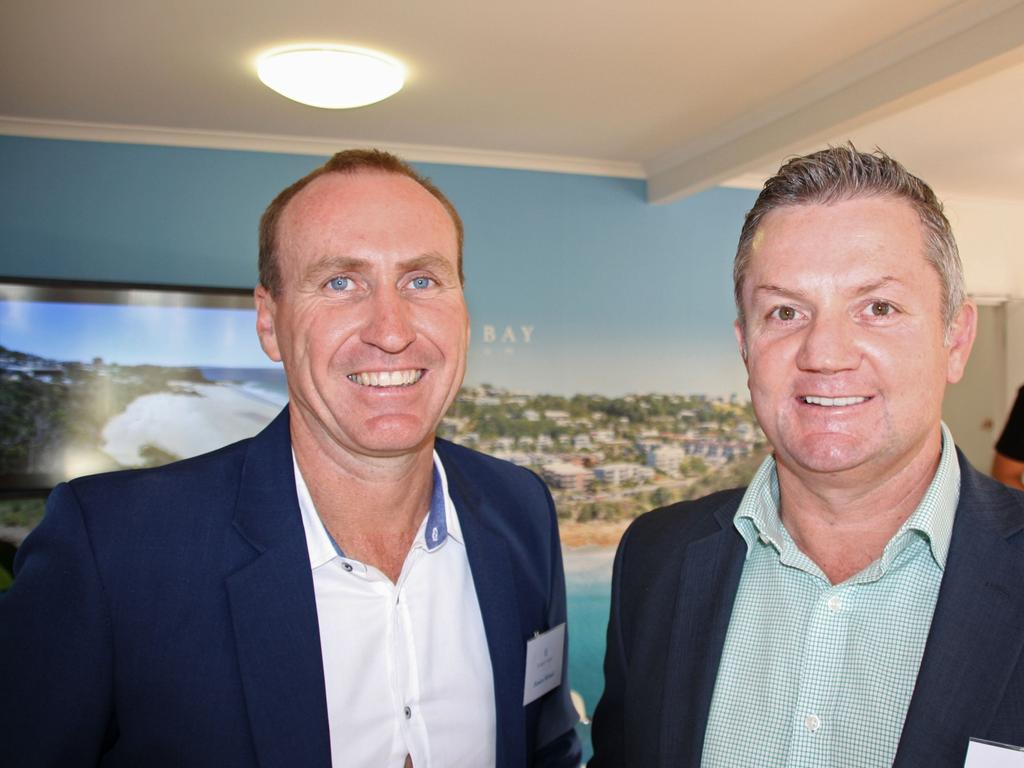 Damien Michael and Chris Pace of McGrath Estate Agents celebrate the launch of the luxury First Bay Coolum development.