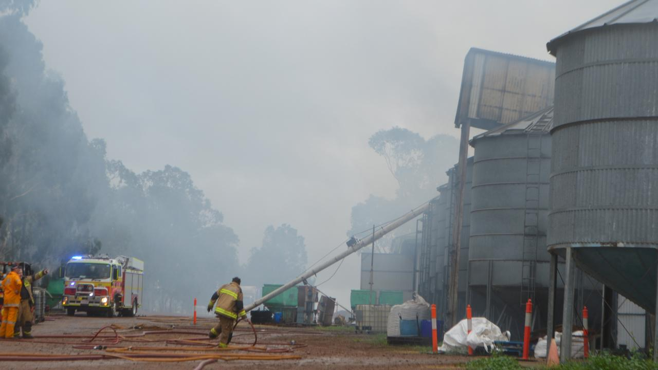 Smoke on the scene of the Allora Grain and Milling blaze.