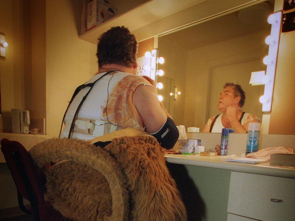 Doug Parkinson in his dressing room before going onto the Wizard of Oz stage as the Cowardly Lion in 2002.