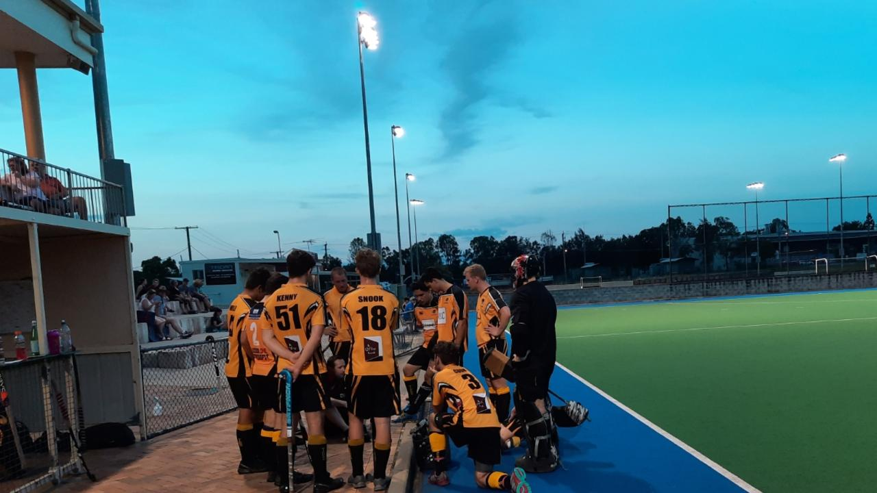 The Easts A-Grade hockey team ponder the state of play in their season opening match against Norths. Picture: David Lems