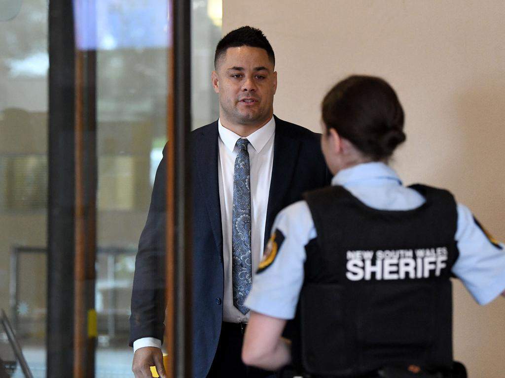 Jarryd Hayne arrives at Sydney's Downing Centre Court on Wednesday. Picture: NCA NewsWire/Bianca De Marchi.