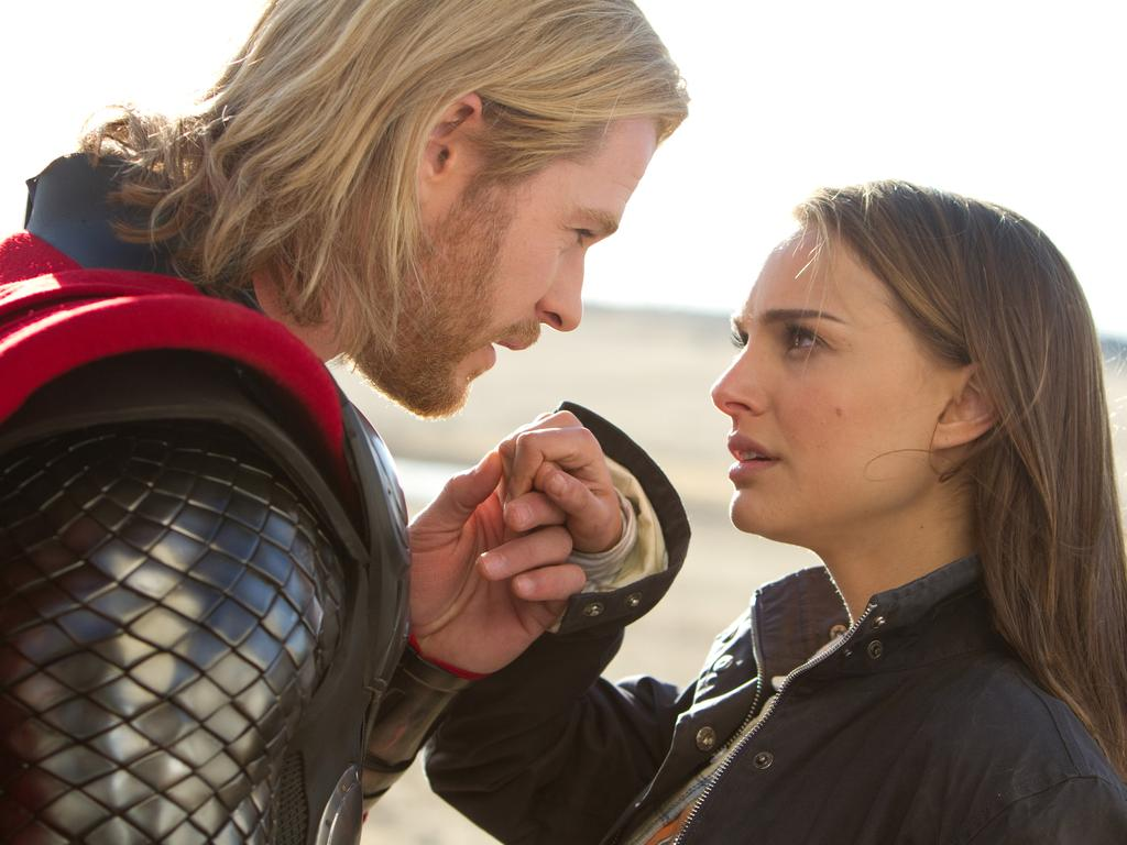 Chris Hemsworth and Natalie Portman in Thor. Picture: Paramount Pictures-Marvel Studios, Zade Rosenthal