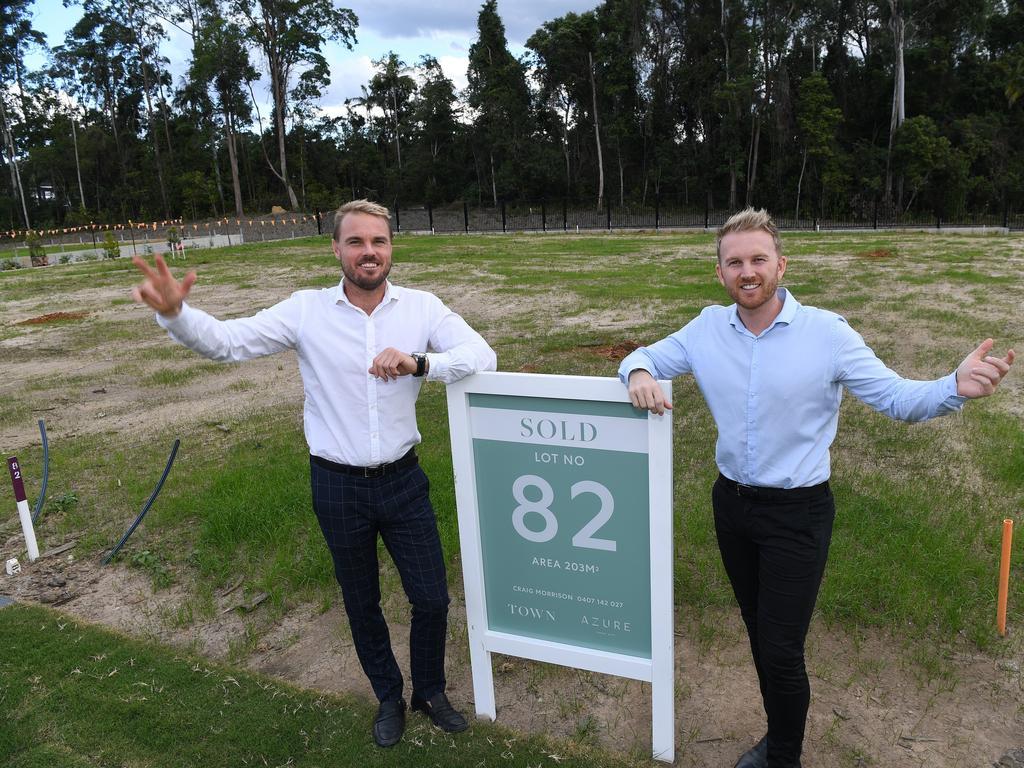 Sales managers Craig Morrison and Jamie Vibert at Azure Estate in Forest Glen.
