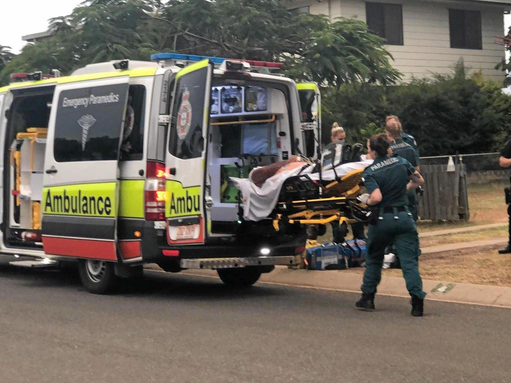 Scene of stabbing of Ray Jarvis at Thora St, Gracemere, on February 6, 2019. Pictured Mr Jarvis is being placed into the ambulance.