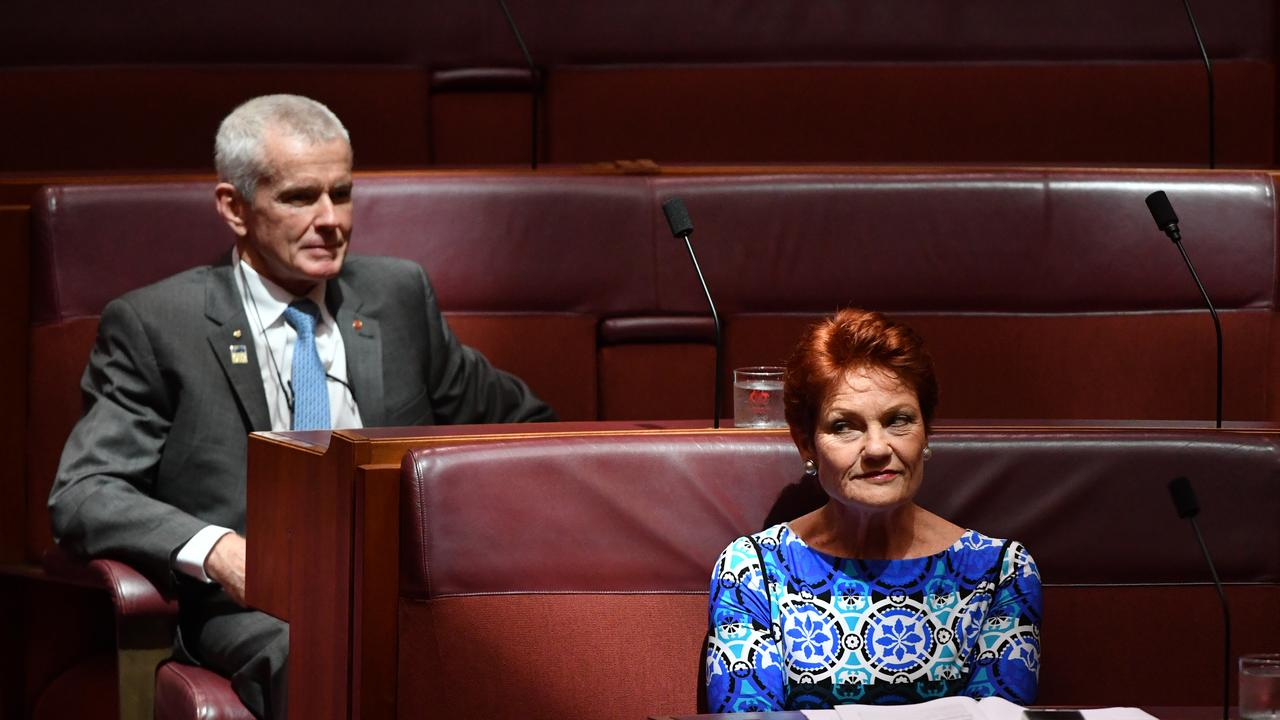 One Nation Senators Malcolm Roberts and Pauline Hanson. Picture: Mick Tsikas/AAP
