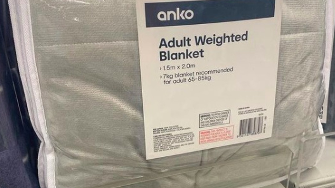 Kmart has brought back its weighted blanket in a new colour. Picture: Instagram@bargain_homewares