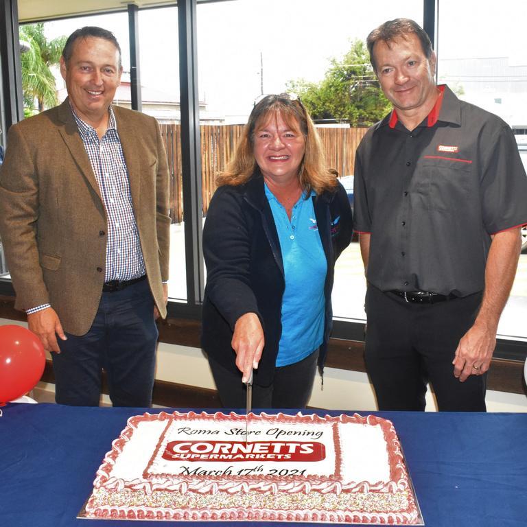 Maranoa Regional Council mayor Tyson Golder, Jenny Gailey from Drought Angels and CEO of Cornetts IGA Graham Booysen.
