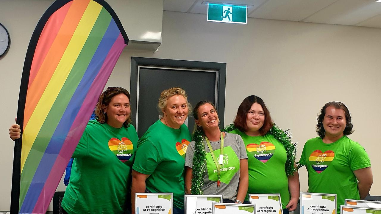 Headspace Bundaberg's Brite Ball committee members Kristy Hayes, Di Wills, Cristel Simmonds, Lauren Cuthbert and Rhys Williams.