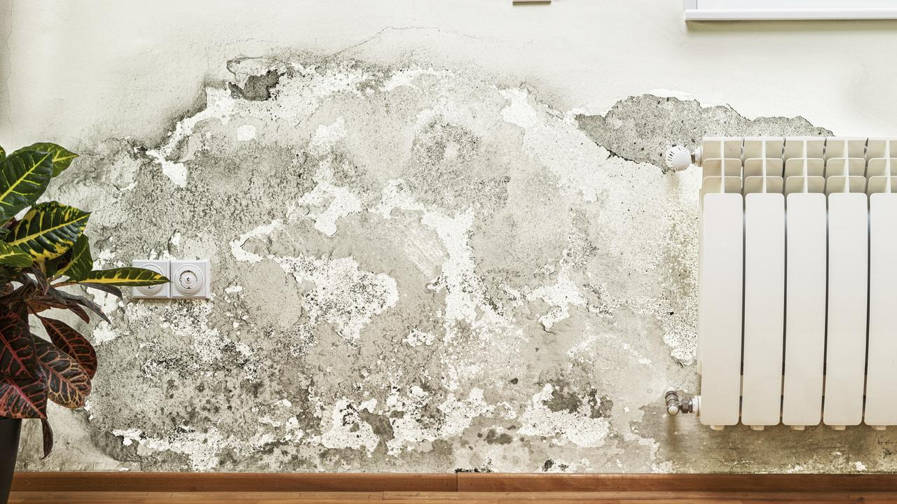 Damage caused by dampness on a wall in modern house.