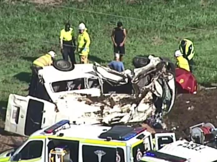 A mini-bus and another vehicle have collided in a serious accident in the Lockyer Valley. Picture: 9 News