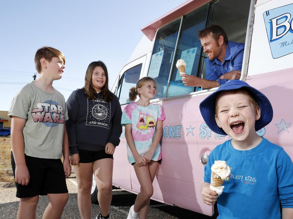 Jason King (back) owner of Bell's Milk Bar bought an ice cream truck to help COVID proof his business. Picture: Jonathan Ng