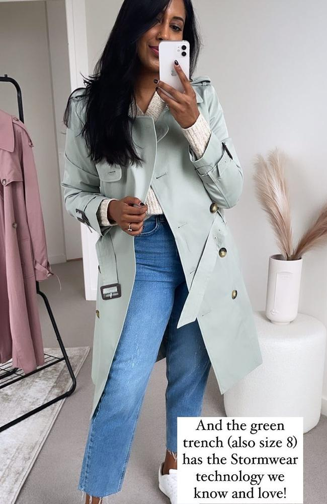 Fashion influencer Tina Abeysekara has sparked a colour debate over this M&S trench coat. Picture: Instagram/TrashtoTreasured