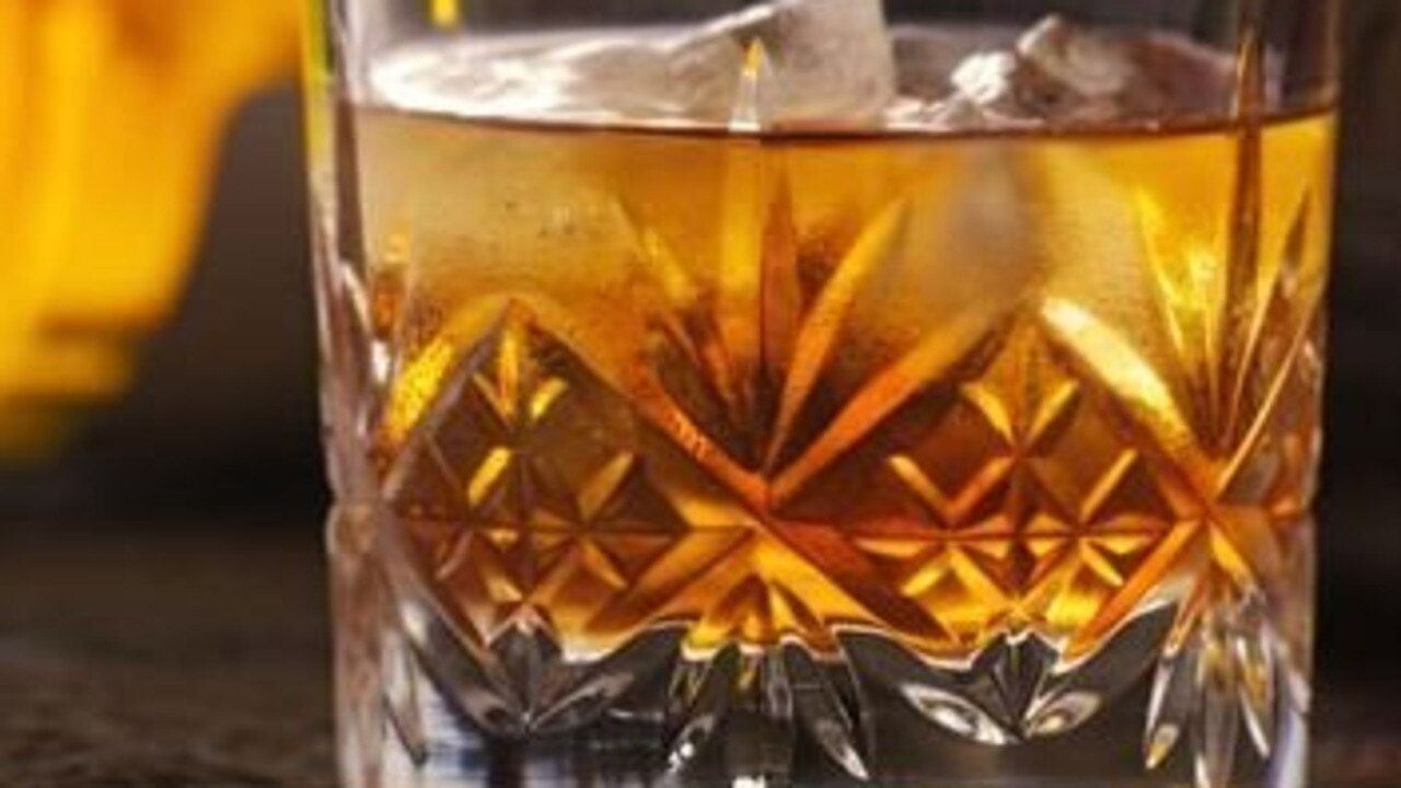 A glass of rum.