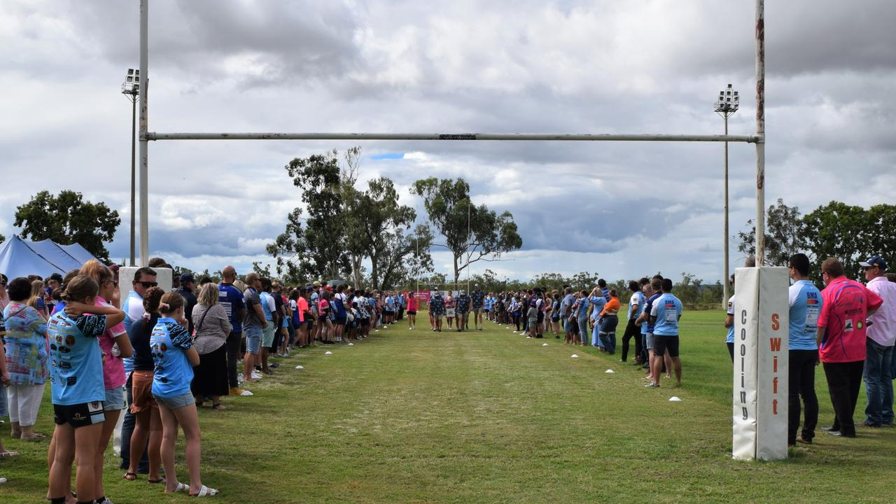 Guests formed a guard of honour between the goalposts for Ethan as he was carried down the field at the Moranbah Miners Leagues Club on March 19.