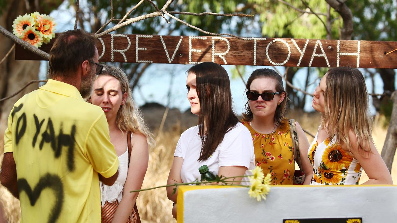 A large, permanent concrete memorial for Toyah Cordingley has been unveiled in a service at Wangetti Beach. Family friend Wayne