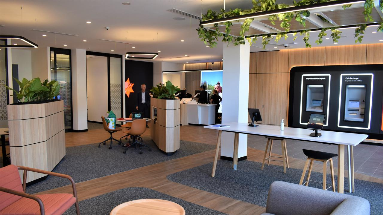 The new-look design and open-plan layout of the branch includes a 24-hour banking area, a sit-down waiting area, a teller desk, internet banking table, and zones for private meetings. Picture: Kristen Camp.