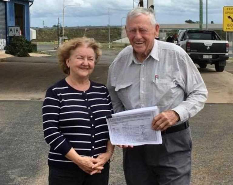 Zimms Corner Service Station owner Olga Marr with Clive Berghofer.