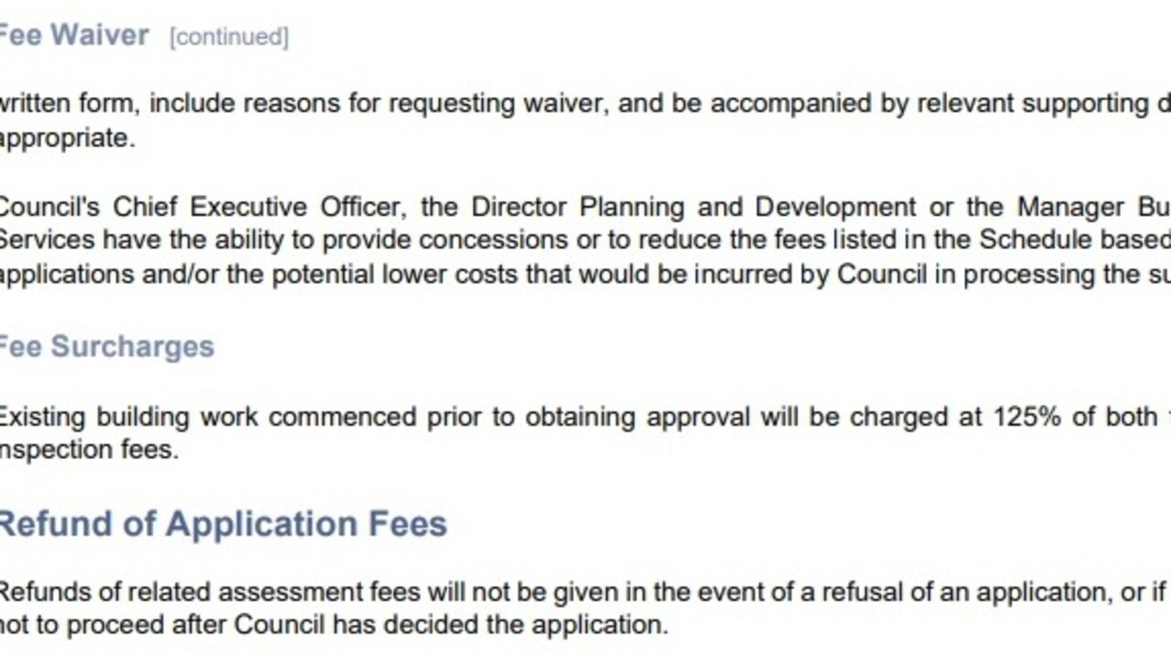 In past years the council delegated powers to more than just the CEO in its fees and charges documents.