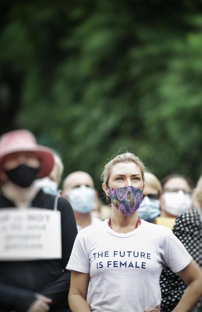 Labor MP Jonty Bush in her Future is Female shirt. Picture: Instagram