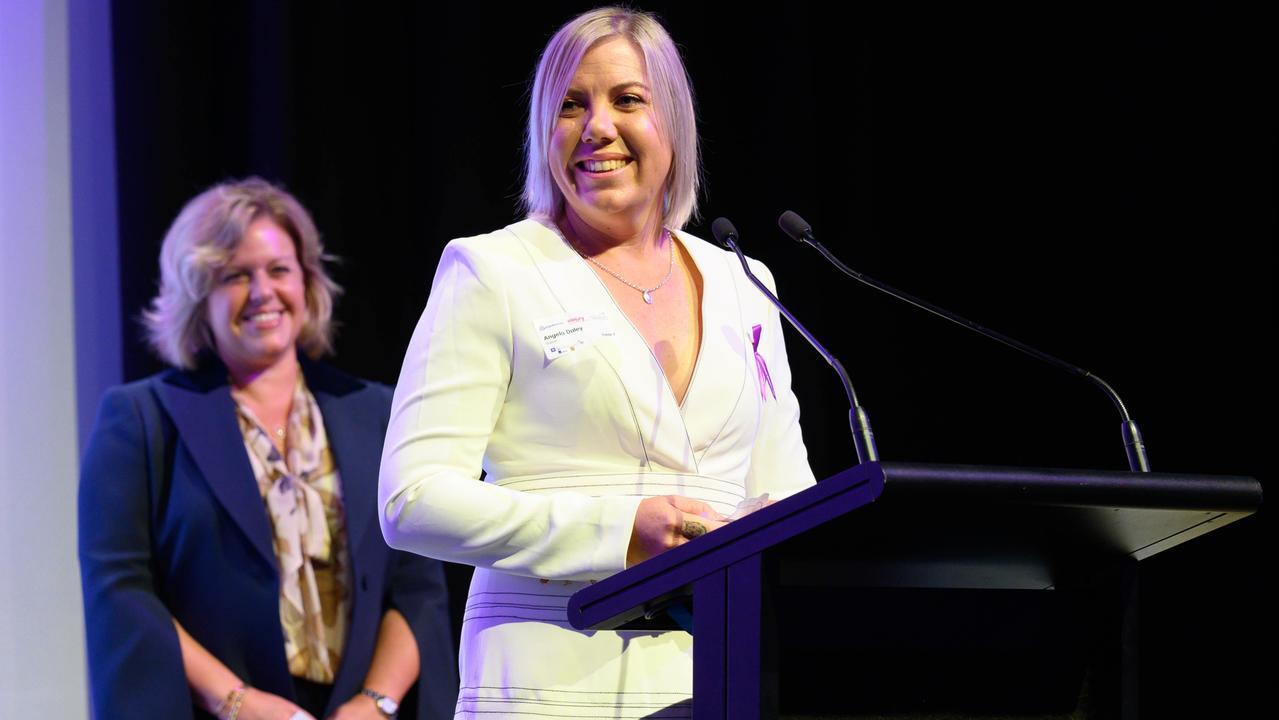 Ange Daley receiving an award at the 2021 Resources Awards for Women. Picture: Mark Duffus