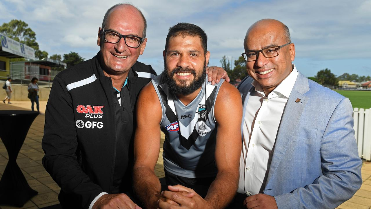 David Koch, Port Adelaide's Patrick Ryder and Sanjeev Gupta. Picture: Tom Huntley