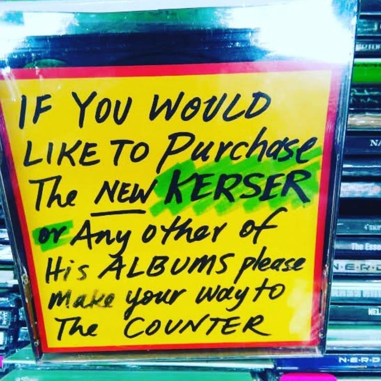 A sign at JB Hi-Fi sends prospective customers to the counter for Kerser's music. Picture: Instagram / KerserOfficial