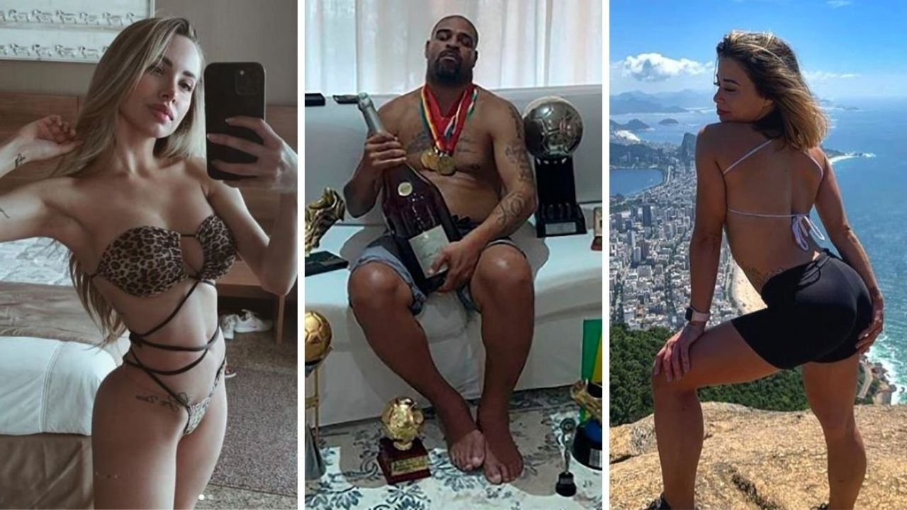 Retired Brazilian football star Adriano is reportedly back with two of his ex-girlfriends, seeing both in secret while living in a luxury hotel.