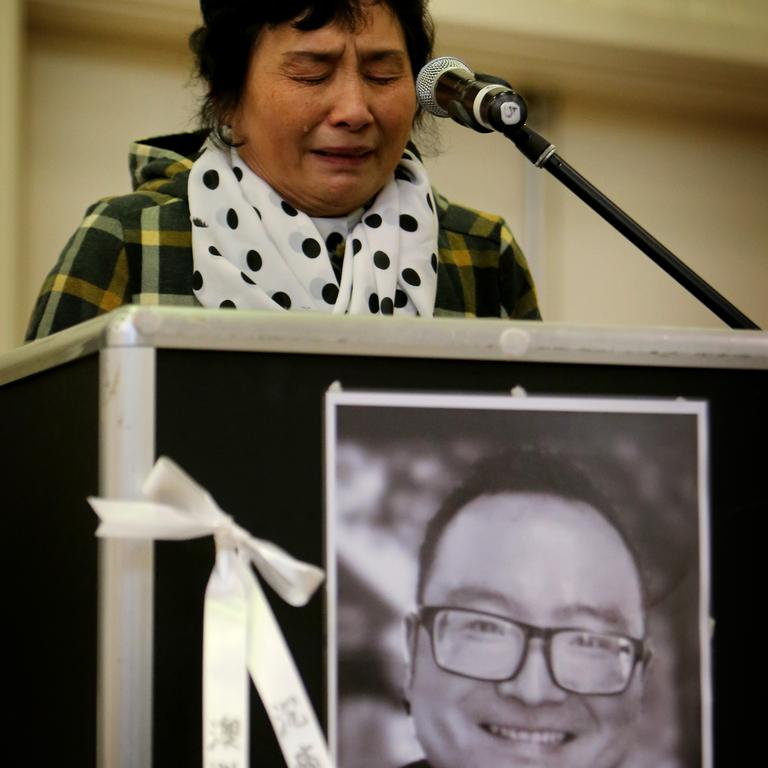 Kai Hao's mother Yinping Zhang speaks at a memorial service for her son Kai Hao, killed in the Brighton siege. Picture: Stuart McEvoy
