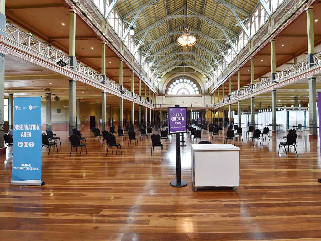 A mass vaccination centre is being set up at the Royal Exhibition Building in readiness for the second phase of the COVID jab rollout, which starts on Monday. Picture: Nicki Connolly