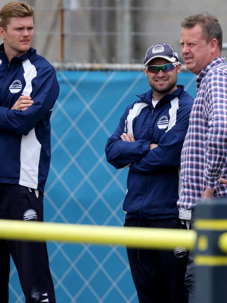 Jason Bakker, right, at premier cricket in 2019. Picture: Mike Dugdale