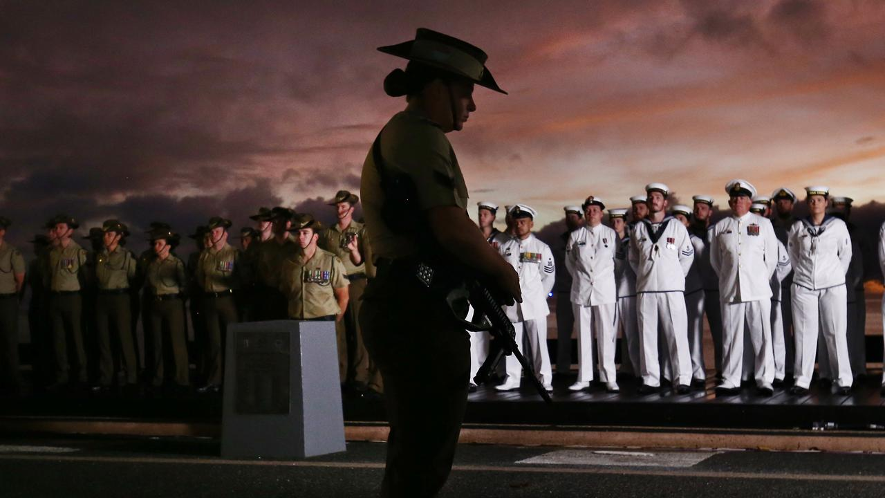 The Anzac Day 2019 dawn service was held at the cenotaph on Cairns Esplanade. Members of the 51st Battalion and HMAS Cairns at the dawn service. PICTURE: BRENDAN RADKE