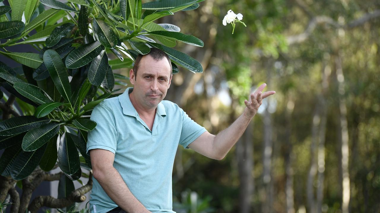 Sean Brown caught the culprit stealing his frangipani plants on camera. Picture: Patrick Woods.