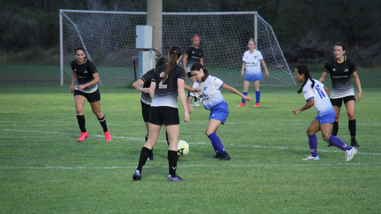 Bluebirds and Central FC battle for possession in the inaugural CQ Women's Premier League match at Brian Niven Park. Central FC won the game 6 – 3.