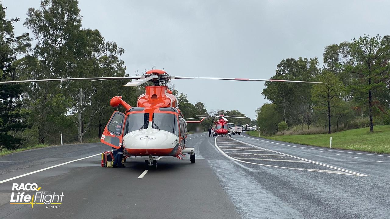 The scene of a horror crash on the Bruce Highway at Tiaro.