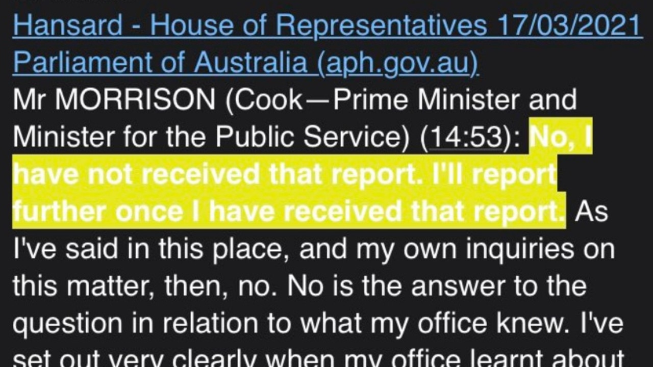 What Scott Morrison said in parliament on March 17 about the investigation.