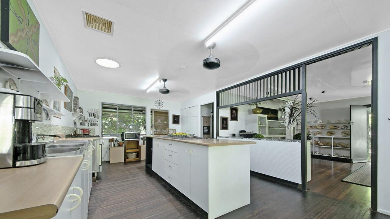The open plan kitchen inside the home.