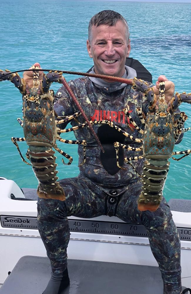 Rick Bettua returned to the water, off Mission Beach, for a cray dive. Picture Facebook