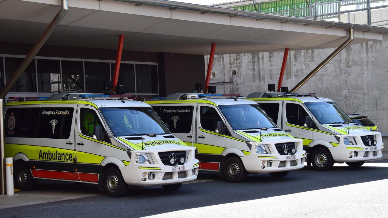 RAMPING: Ambulances ramped at Rockhampton Hospital's Emergency Department.