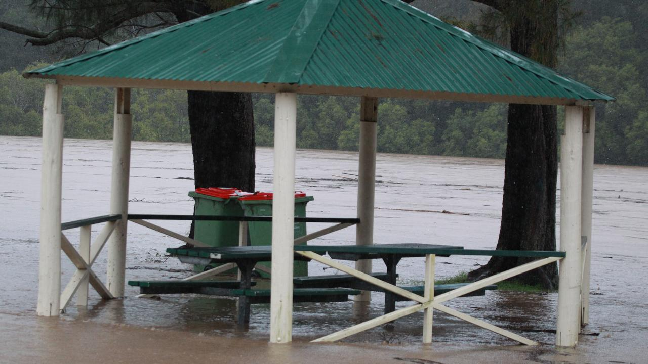 A gazebo submerged on the Gold Coast. Picture: Mike Batterham