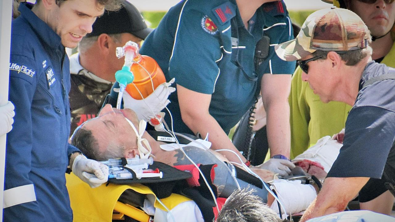 Rick Bettua at the Dungeness boat ramp in Hinchinbrook, with no pulse after his upper left leg was mauled by a bull shark on the Great Barrier Reef. Picture: Cameron Bates.