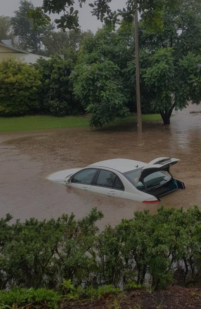 A car submerged in floodwater at Mudgeeraba. Picture: Facebook
