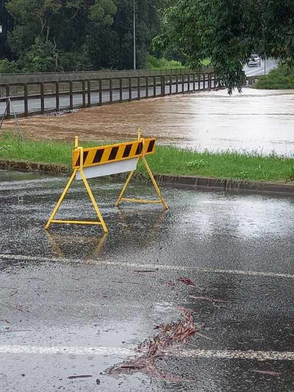 Simes Bridge is close to going under floodwater.