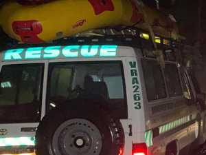 Rescue squad helps ambos get through flood to reach patient