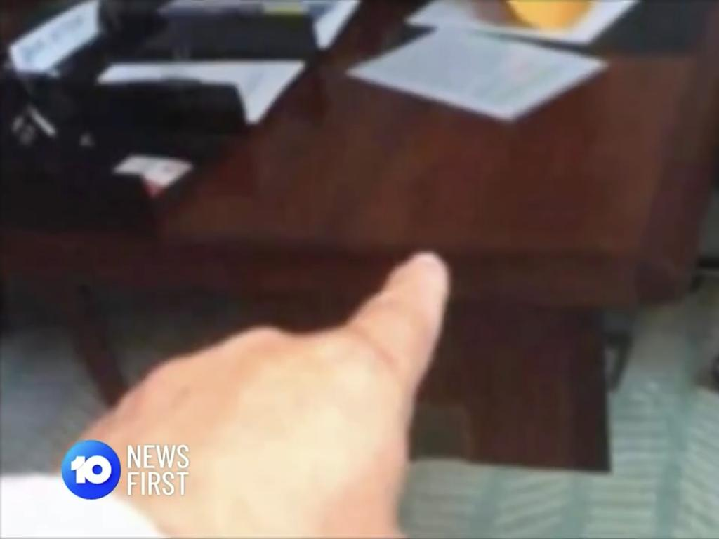 The man filmed himself performing a lewd sex act at a female colleague's desk. Picture: 10 News First