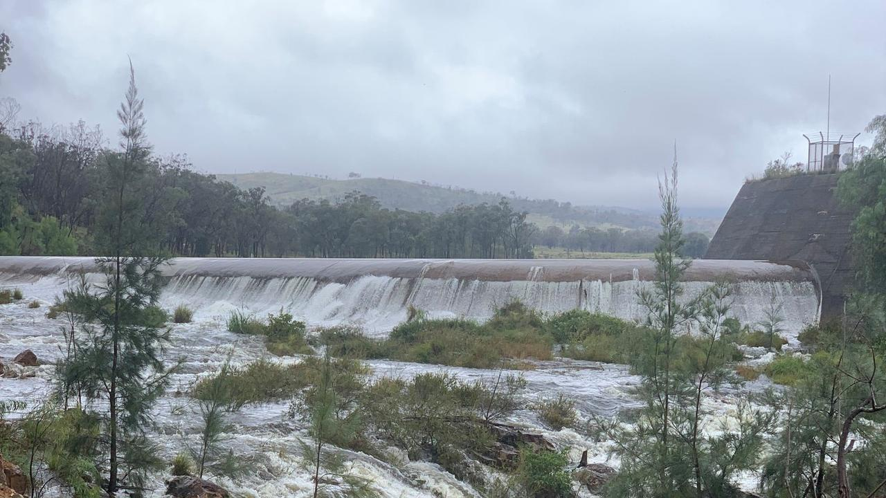 Connolly Dam overflows as huge rains batter Southern Downs. Picture: SDRC