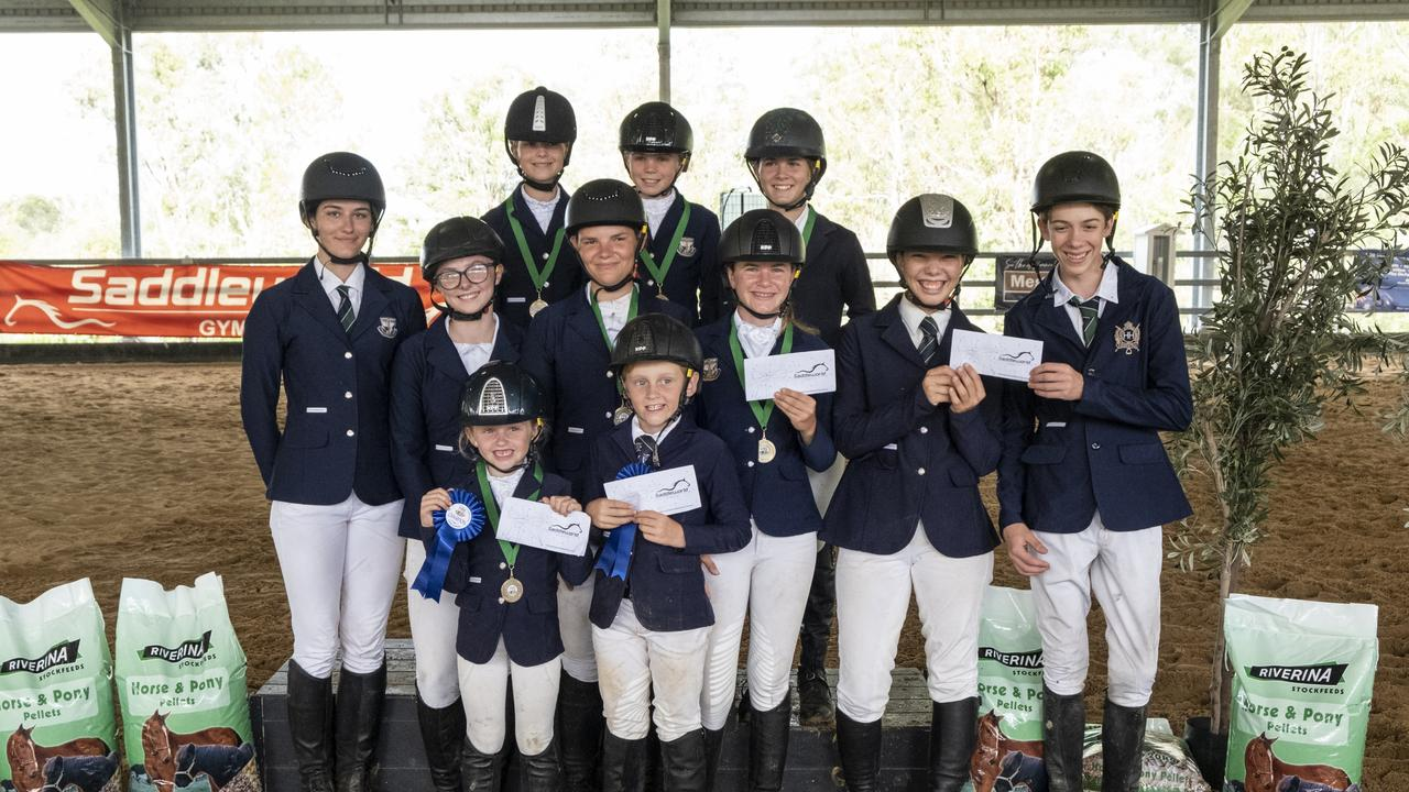 Victory College Interschool Show Jumping Competition's victorious primary and secondary teams (back, from left) Charlie Neil, Emily Davis, Olivia Hewitt-Toms, (middle row) Alyx Peters, Marnie Turner, Makayla Godwin, Saachi Stiefler, Madilyn Jessup-Little, Callum Lehman and (front row) Arianah Bazzan and Jameson Bazzan.