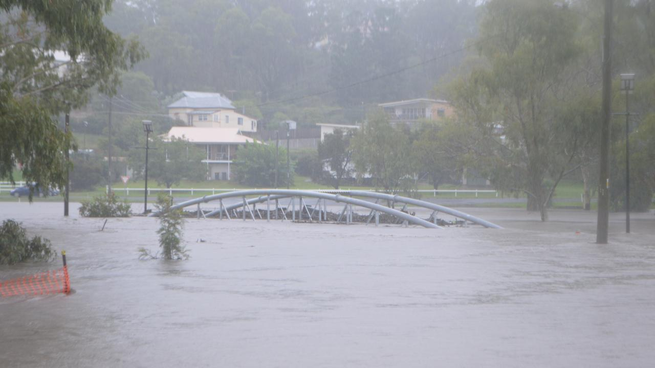 The Coombes Bridges under water as the Condamine River spills over in Warwick. Picture: Tessa Flemming / Warwick Daily News