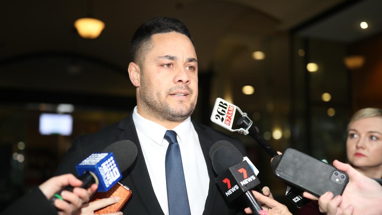 Former NRL superstar Jarryd Hayne leaves the Downing Centre in Sydney. Picture: NCA NewsWire / Christian Gilles