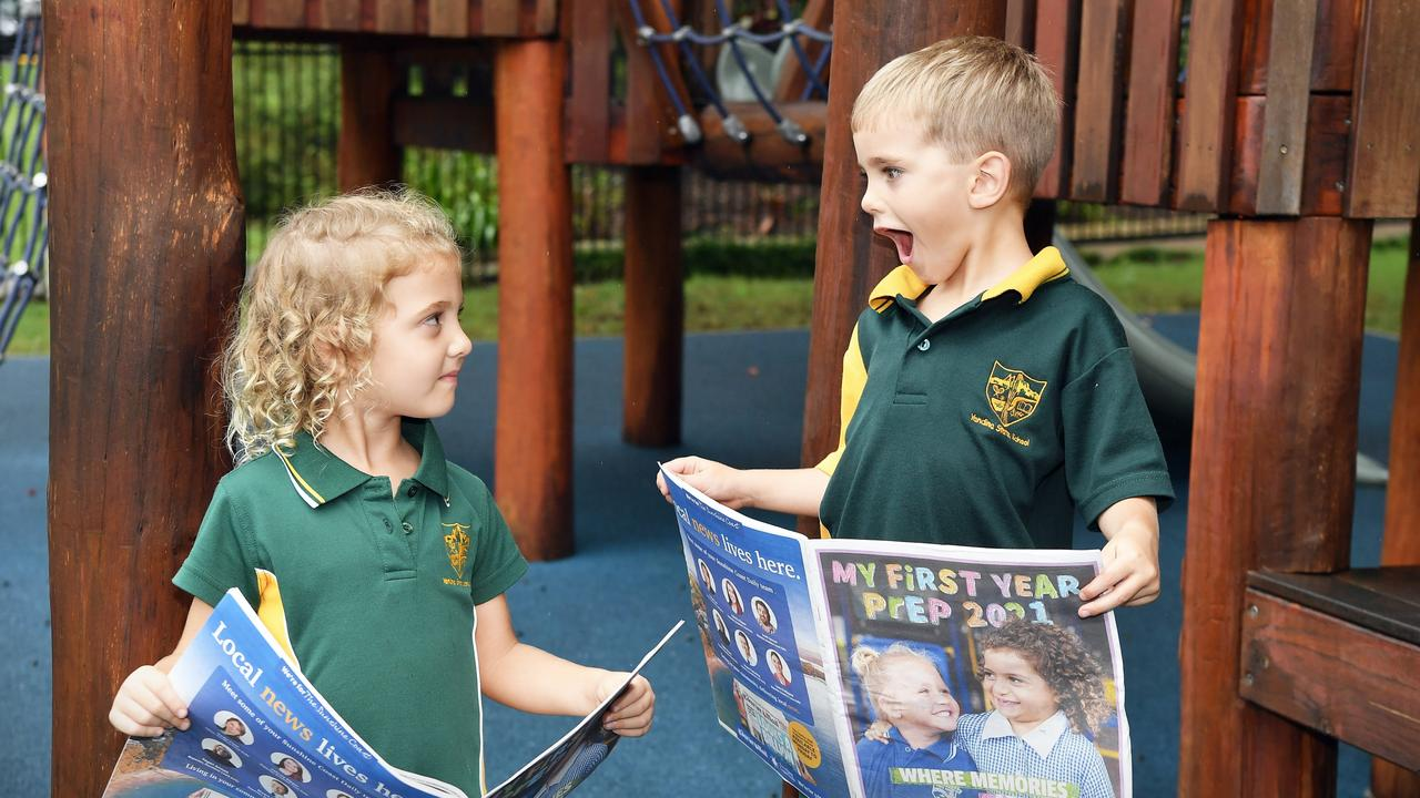 Yandina State School prep students Milla Brown and Charlie Barnett are excited to see their photos in My First Year Prep feature. Picture: Patrick Woods.
